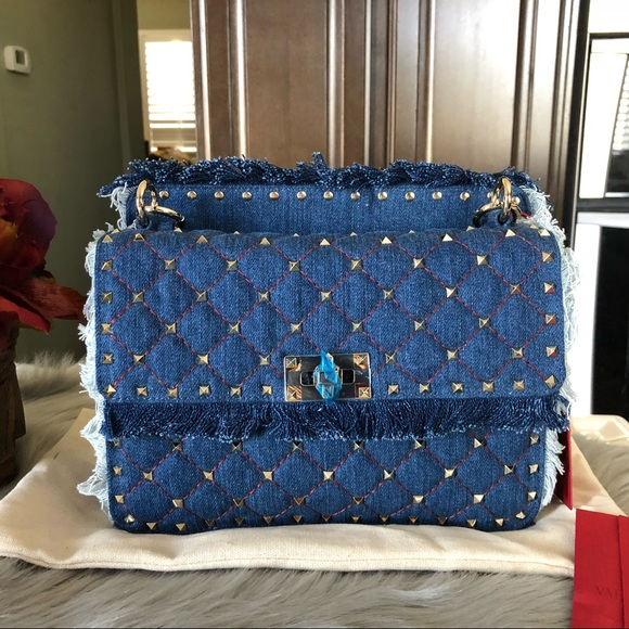 4168870ae8 Valentino Garavani Bags | New Valentino Denim Medium Rockstud Spike ...